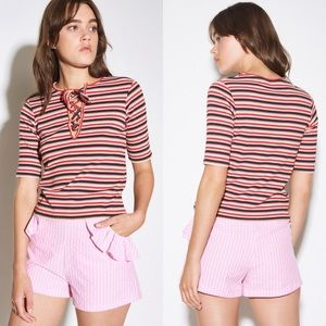 The Fifth Label Parade Stripe Lace Up Top Size XS